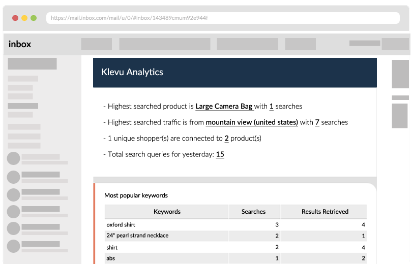 Site search analytic's data