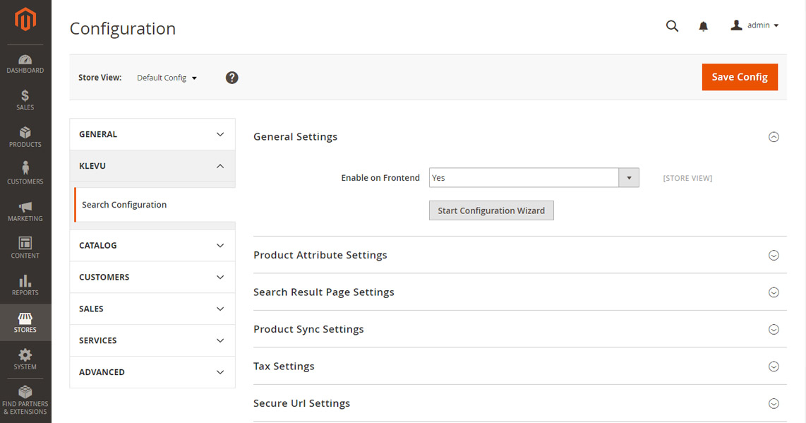 Klevu Search admin panel in Magento 2